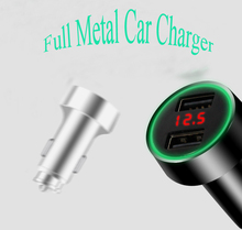 Popular Portable Dual Metal USB Car Charger For Mobile Phones
