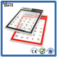 Mini transparent touch screen clear value solar calculator, plastic 8 digits desktop transparent solar calculator