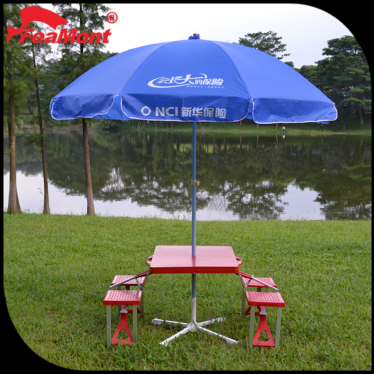 <strong>16</strong> Ribs reinforced windproof folding beach umbrella, aluminum table with umbrella hole