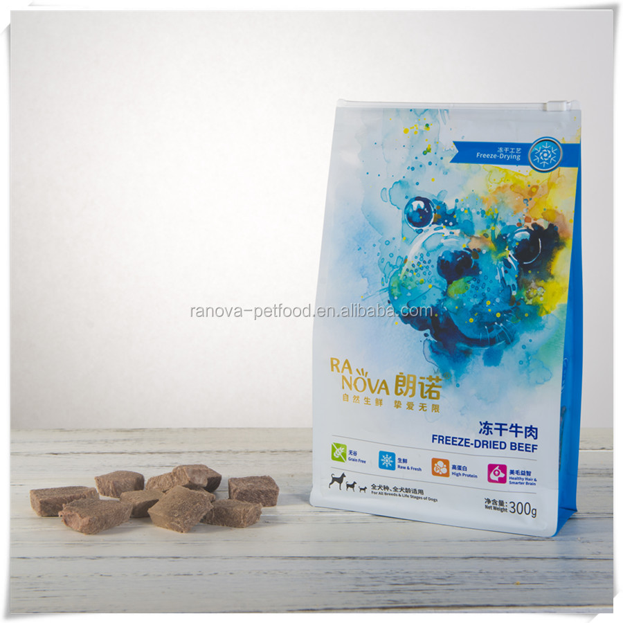 Pet Food Storage With Freeze Dried Beef For Dog Treats