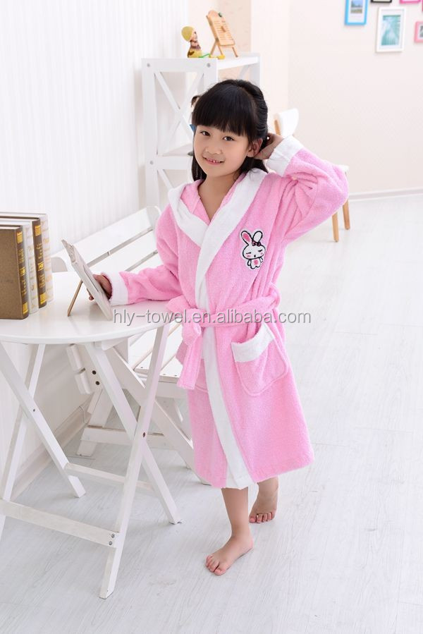 100% cotton terry nude sleepwear white and pink girls bathrobes