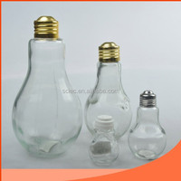Light Bulb Bottle with Gold Metal Lid GLass Spice Shaker