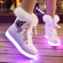 KS00448A Adult Led Shoes Wholesale Fur Keep Warm Ankle Boots Shoes Led Light Up