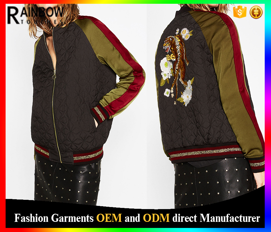 Contrast fabrics back tiger embroidered satin sleeve bomber jacket