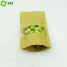 China manufacturers cheap food brown waterproof ziplock stand up valve kraft paper bag with clear window