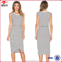 Ladies Black and White Midi Dress Stripe One Piece Cotton Dress
