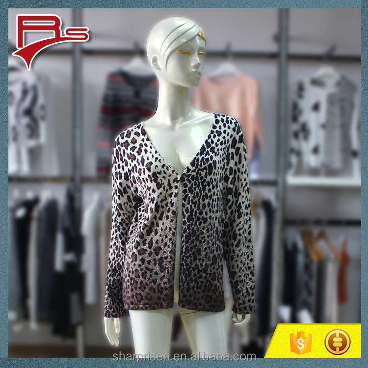 2016 Autumn/Winter Womens Animal Print Sweater One Button V Neck Long Sleeve Printing Cardigan Sweater All Over Fro Laidies