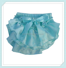 New design infant toddler girls satin baby kid aqua bloomer diaper cover baby ruffles cheap lovely bloomers