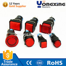 12mm 3A 250V AC red illuminated on off tact led push button switch