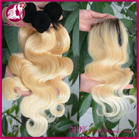 7A 16inch #1b/613 blonde hair weave 100% human hair Peruvian ombre color hair weft 3pcs with 4*4 closure free shipping