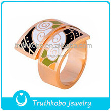 Vacuum Plating Rose Gold Colorful Epoxy Rings Jewelry For Women Stainless Steel Fashion Jewelry Different Color Fine Enamel Ring