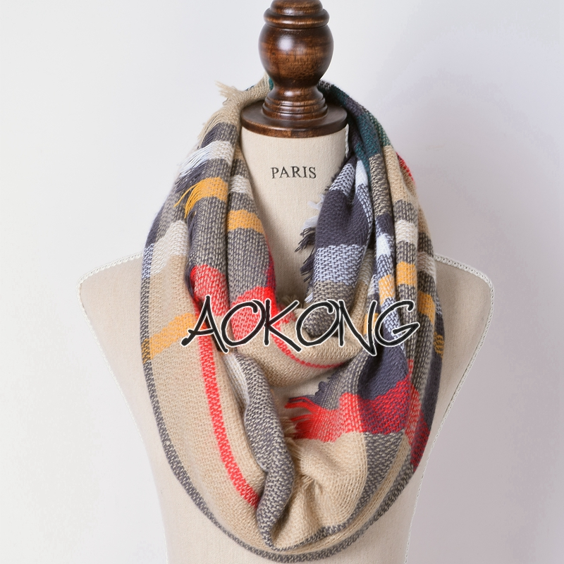 Fashion 18 colors stock new winter acrylic tartan plaid infinity snood scarf