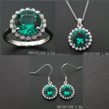 Round Flower Charm Sets Green Spinel Women Jewelry Gifts DR01507160S-G