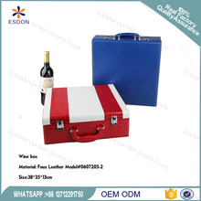 2 Bottle Modern Top Handle Travel Wine Carrier Case with Accessory Set and two glass bottles