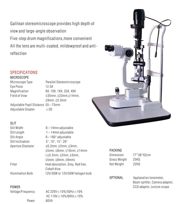 Digital Slit Lamp Microscope with Electric Table