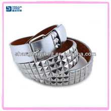 3-Row Metal Studded Leather Pyramid Silver Belt Unisex Mens Womens Punk Rock Goth Emo YJ-HY0149-10