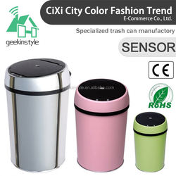 1.5-3 Gallon Round Infrared Touchless Dustbin Stainless Steel Waste bin container homes SD-005