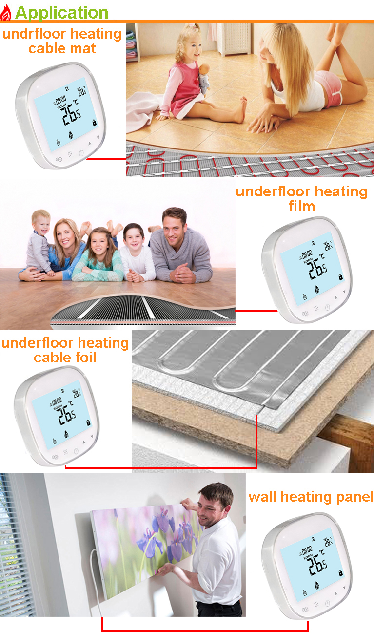 Haisen weekly programmable underfloor heating temperature touch controller electric thermostat 16Amp