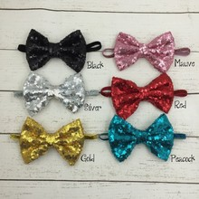 5 Inch Glitter Bow <strong>Headband</strong> Sequin Bow <strong>Headband</strong> Baby Hair Bow <strong>Headband</strong>