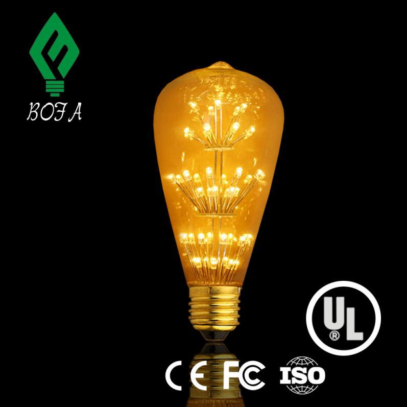 6W-ST64-E26/27 UL/CUL listed dimmable Edison style 6w led filament bulb