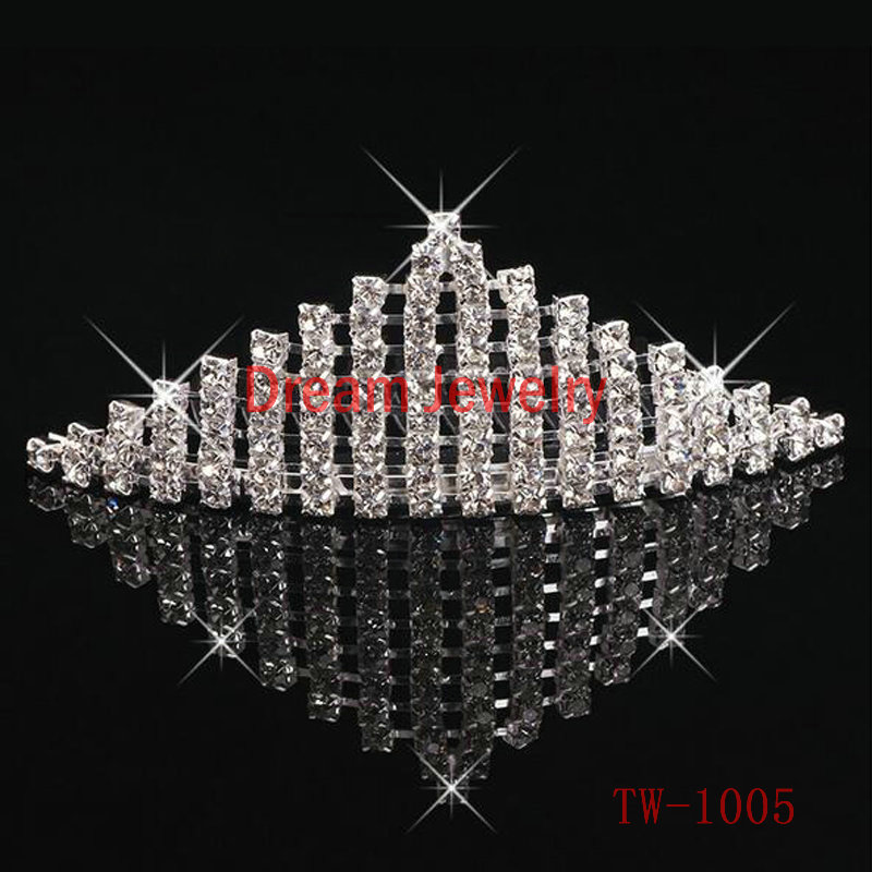 Sparkly Hair Jewelry Accessories Wedding Bridal Rhinestone Princess Tiara Crystal Crown Hair Comb For Kids Girls Quinceanera