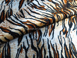 100%polyester brushed printed tiger stripe bedding velvet fabric