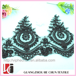 WHB-53 Fan-shaped Lace Applique with Bead ,Graceful Wholesale Decorative Bridal Beaded Pearl Lace Trim for Wedding Dress