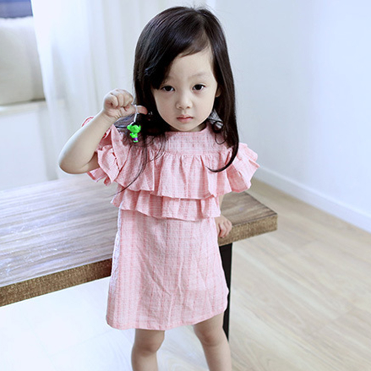 Wholesale Summer New Arrival Round Neck Falbala Design Children Clothes, Girls Pink Dresses