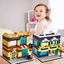 Funny Cool Cute Kids Toy City Street Shop Plastic Building Block