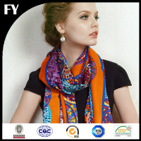 Wholesale custom digital printed 100% silk brazil satin ladies scarf