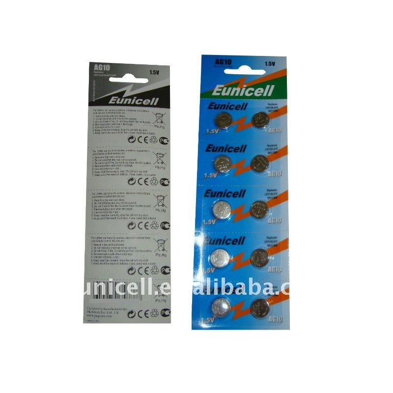AG10 button cell battery LR1130 with blister card package(Eunicell brand)