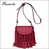 Lastest Design Fashion Women Leather Messenger Bag Custom Cross-body Bag Small Lady's Fringe Bag for wholesale