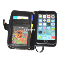 New 2 in 1 Double Zipper Leather Flip Cell Phone Wallet Case Purse Pouch Cover for iPhone 4 4s