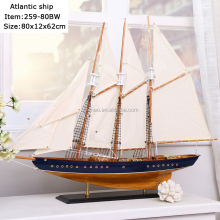 "80cm length wooden sailing ship model ""ATLANTIC"", America boat model, Blue + Brown home collection"
