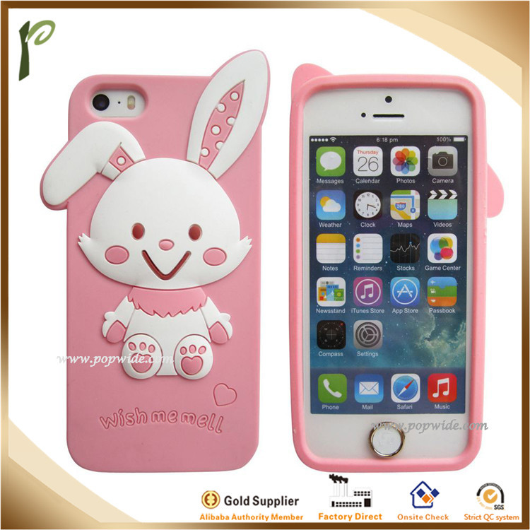 Popwide wholesale Soft Cute rabbit silicon for mobile phone shell