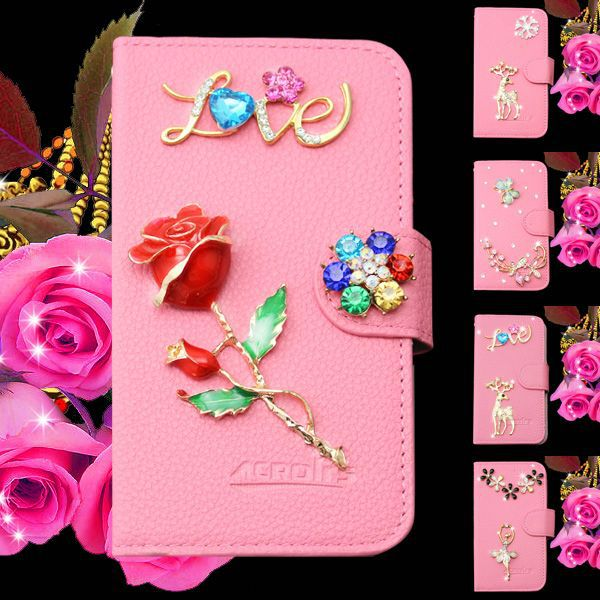 DIY 3D flowers crystal leather case cover for Huawei Ascend G620S,sparkling case for Huawei Ascend G620S
