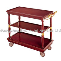 Hotel Supply restaurant 3-tier vintage bar cart wooden bar carts wooden tea trolley restaurant drinks serving trolley F6