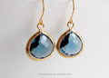 Blue Crystal Earrings - Dark Blue Teardrop Gold Plated Dangle Drop Earrings