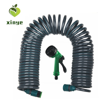 China Cixi Trading Wholesale 50ft Watering Fittings Garden Coil Hose with Hose Nozzle