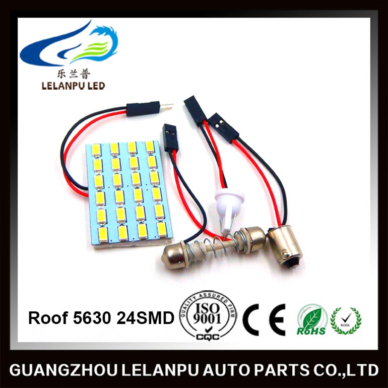 Wholesale dome plate lamp 5630 24SMD auto led roof light 5630 t10 festoon ba9s light socket adaptor
