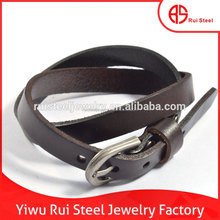 Double Strands buckle black leather Fake Bracelet With Snake Skin