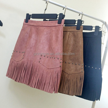 2015 lady new winter small fragrant Leather cashmere fringed half-length skirt thin waist A line skirt OEM supply
