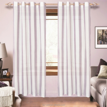 2018 Yarn Dyed Iron Eyelets Ready Made Faux Linen Curtain