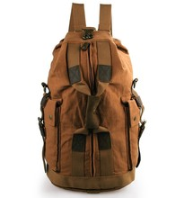 9019B Vintage Style Canvas And Leather Men's Brown Travel Backpack Schoolbag Book Bag