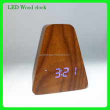 Promotional LED wood alarm clock with USB charge wooden clock