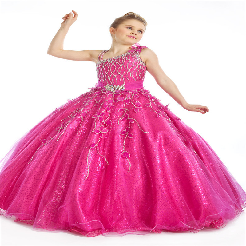 Buy One Shoulder Hot Pink Ball Gowns Little Girls Pageant Dresses ...