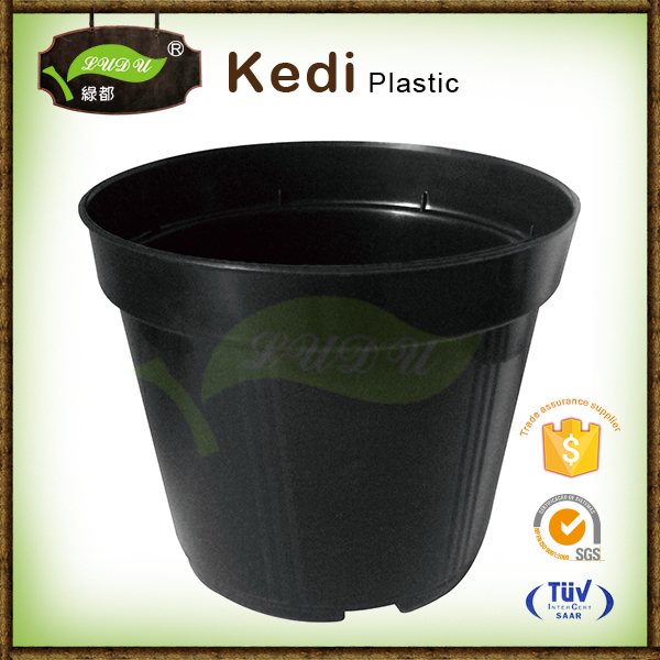 50L nursery plastic flower pot, Big Nursery garden black flower pot glazed