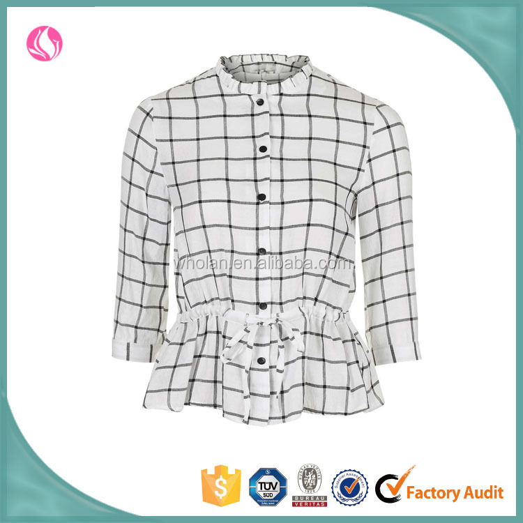 Women clothes latest frill peplum cotton casual checked shirt girl checked shirt design for women