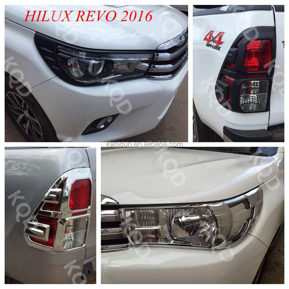 Top selling products 100% Perfect Fit hilux revo matte black chrome headlight cover for toyota hilux revo 2015 2016