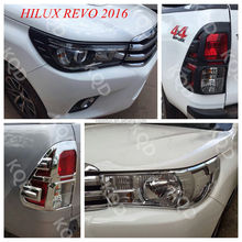 Top selling products 100% Perfect Fit matte black chrome headlight cover for toyota hilux revo 2015 2016
